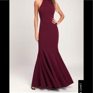 Slice of Joy Burgundy Halter Maxi Dress